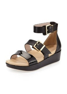 Kenneth Cole New York Joyce Leather Buckled Wedge Sandal, Black