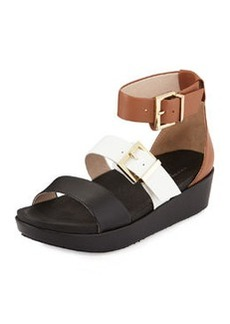 Kenneth Cole New York Joyce Leather Buckled Wedge Sandal, White/Cognac/Black