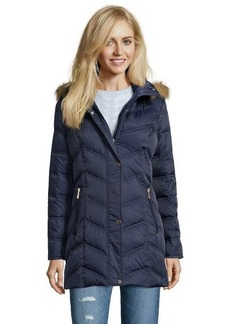 Kenneth Cole New York midnight blue chevron quilted optional hooded down jacket
