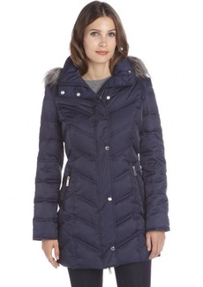 Kenneth Cole New York midnight quilted drawstring hooded down jacket