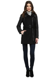 Kenneth Cole New York Mixed Media Asymmetrical Zip Front Wool Coat