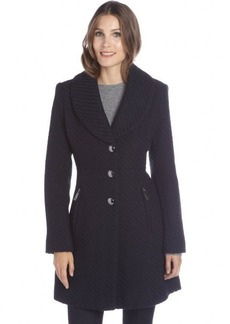Kenneth Cole New York navy basketwoven wool blend 3-button coat