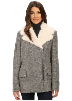 Kenneth Cole New York Novelty Wool Coat with Faux Fur