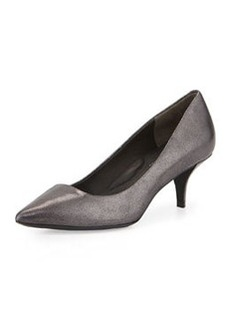 Kenneth Cole New York Pearl Metallic Leather Low-Heel Pump, Dark Pewter