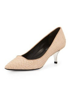 Kenneth Cole New York Pearl Snake Embossed Suede Low-Heel Pump, Light Tan