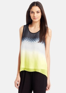 Kenneth Cole New York Print Split Back Sleeveless Blouse (Petite)