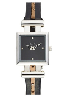 Kenneth Cole New York Square Leather Strap Watch, 20mm