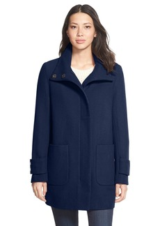 Kenneth Cole New York Stand Collar Wool Blend Twill Coat