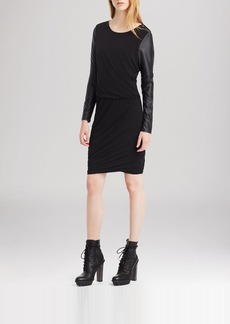 Kenneth Cole New York Virginie Faux Leather Sleeve Dress