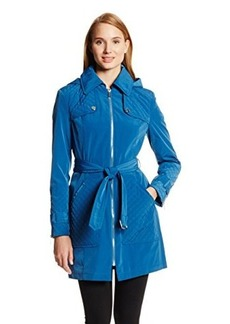 Kenneth Cole New York Women's Belted Front-Zip Trench Coat with Detachable Hood