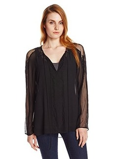 Kenneth Cole New York Women's Blossom Blouse, Black, X-Small