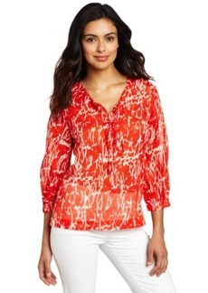 Kenneth Cole New York Women's Petite Abstract Crackle Print Blouse