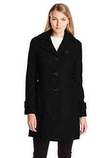 Kenneth Cole New York Women's Single Breasted Wool Coat with Side Tabs