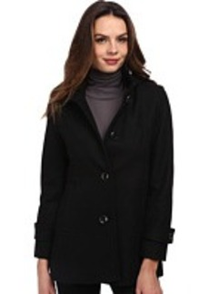 Kenneth Cole New York Wool Button Front Coat with Hood