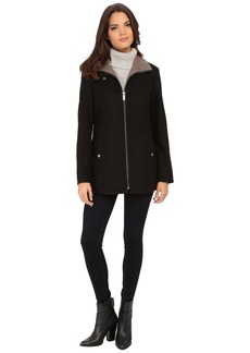 Kenneth Cole New York Zip Front Two-Tone Wool Coat with Side Seaming