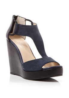 Kenneth Cole Open Toe Platform Wedge T Strap Sandals - Hayley