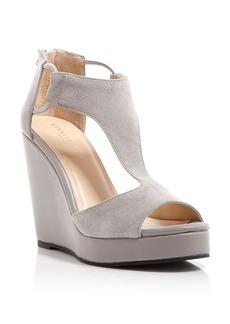 Kenneth Cole Open Toe Platform Wedge T Strap Sandals - Hayley