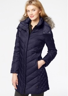 Kenneth Cole Petite Faux-Fur-Hood Puffer Down Coat