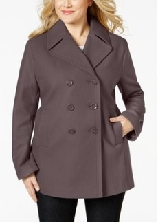Kenneth Cole Plus Size Double-Breasted Peacoat