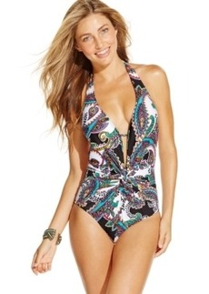Kenneth Cole Printed Plunge Twist-Front One-Piece Swimsuit Women's Swimsuit
