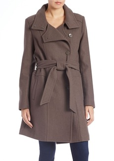 KENNETH COLE REACTION Belted Wool-Blend Trench Coat