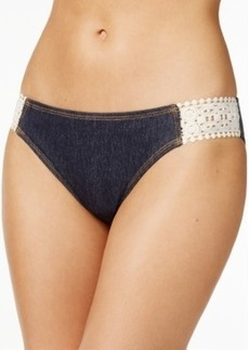 Kenneth Cole Reaction Crochet-Trim Denim Bikini Bottom Women's Swimsuit