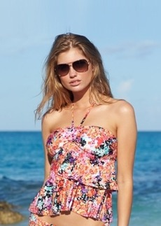 Kenneth Cole Reaction Floral-Print Tiered Ruffle Tankini Top Women's Swimsuit