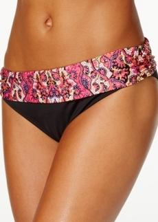 Kenneth Cole Reaction Foldover Printed Hipster Bikini Bottom Women's Swimsuit