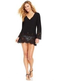 Kenneth Cole Reaction Long-Sleeve Laser-Cut Tunic Cover-Up Women's Swimsuit
