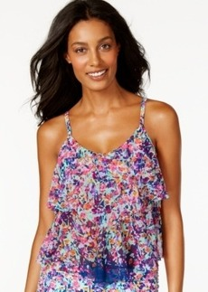 Kenneth Cole Reaction Mesh Floral-Print Tankini Top Women's Swimsuit