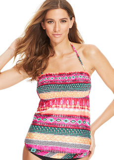 Kenneth Cole Reaction Mixed-Print Bandeau Tankini Top