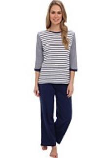 Kenneth Cole Reaction Multi Stripe 3/4 Sleep Top/Crop Pant Set