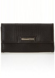 Kenneth Cole Reaction Never Let Go Trifold Flap Clutch Wallet, Black, One Size