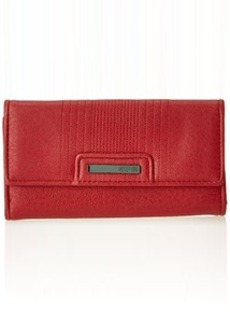 Kenneth Cole Reaction Never Let Go Trifold Flap Clutch Wallet, Red, One Size