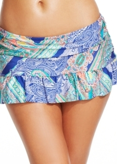 Kenneth Cole Reaction Ocean Paisley-Print Ruffled Swim Skirt Women's Swimsuit