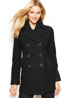 Kenneth Cole Reaction Petite Double-Breasted Wool-Blend Pea Coat