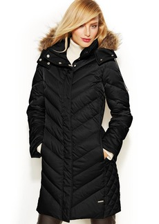 Kenneth Cole Reaction Petite Hooded Faux-Fur-Trim Down Puffer Coat