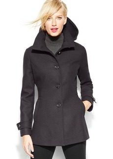Kenneth Cole Reaction Petite Hooded Single-Breasted Walker Coat