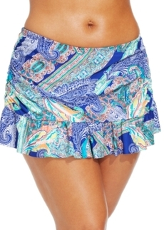 Kenneth Cole Reaction Plus Size Paisley-Print Ruffled Swim Skirt Women's Swimsuit
