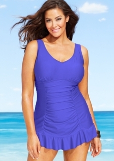 Kenneth Cole Reaction Plus Size Ruched Ruffle-Hem Swimdress Women's Swimsuit