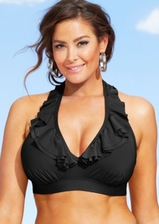 Kenneth Cole Reaction Plus Size Ruffle Halter Bikini Top Women's Swimsuit