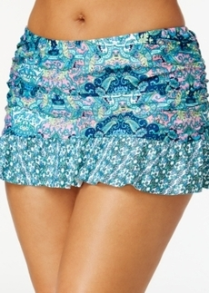Kenneth Cole Reaction Plus Size Scarf-Print Ruched Swim Skirt Women's Swimsuit