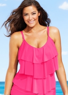 Kenneth Cole Reaction Plus Size Tiered Ruffle Tankini Top Women's Swimsuit