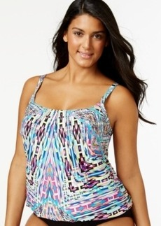 Kenneth Cole Reaction Plus Size Tribal-Print Tankini Top Women's Swimsuit