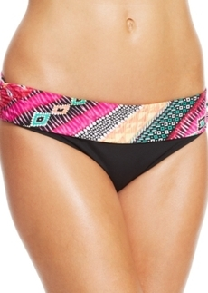Kenneth Cole Reaction Printed-Waist Foldover Bikini Bottom Women's Swimsuit