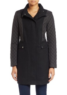 KENNETH COLE REACTION Quilted Sleeve Mock-Neck Coat