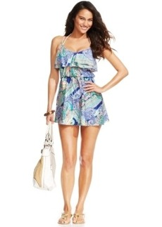 Kenneth Cole Reaction Ruffle Drawstring Swim Dress Cover Up Women's Swimsuit