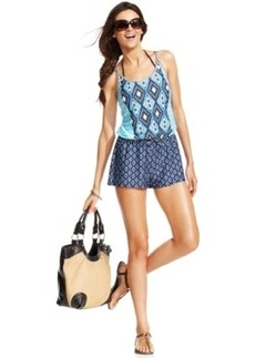 Kenneth Cole Reaction Sleeveless Printed Romper Cover Up Women's Swimsuit