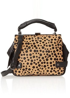 Kenneth Cole Reaction Square Deal Haircalf Satchel,Black/Polka Dot,One Size