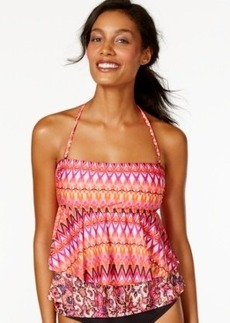 Kenneth Cole Reaction Tribal-Print Layered Tankini Top Women's Swimsuit